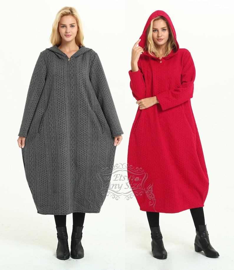 9c89f818c055e Anysize hooded lantern warm cotton dress jacquard maxi dress plus size  dress plus size clothing Spring Winter dress Y341