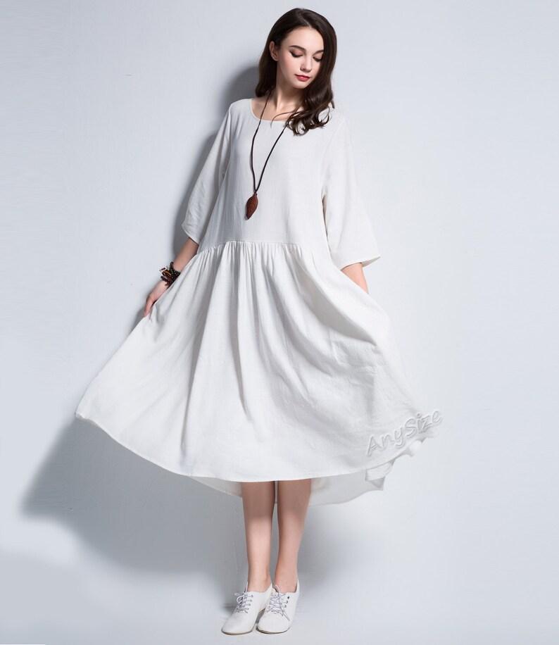 Anysize three quarter sleeves linen dress plus size dress plus size tops  plus size clothing Spring Summer Fall clothing Y95
