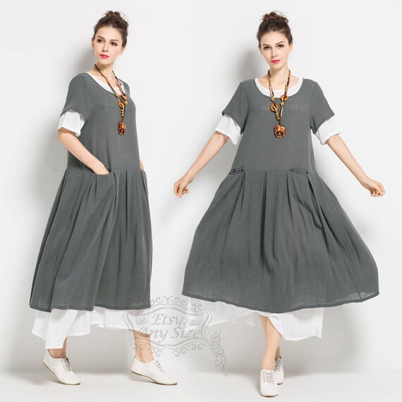 Anysize soft linen&cotton loose dress plus size dress plus size clothing  Spring Summer dress F129A