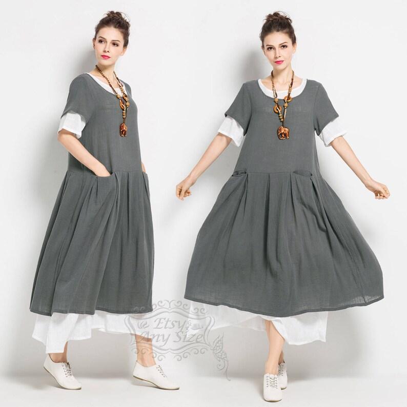 6447f619499 Anysize soft linen&cotton loose dress plus size dress plus | Etsy