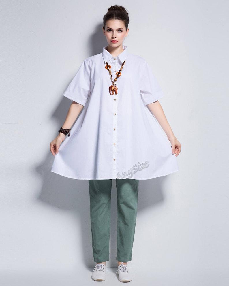 Anysize natural coconut button cotton blouse plus size T-shirt plus size dress plus size tops plus size clothing Summer clothing Y145