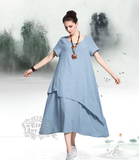 Anysize retro soft linen & cotton dress spring summer dress spring summer  clothing plus size dress plus size clothing Y112
