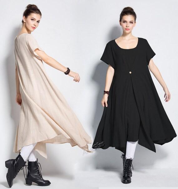 Anysize Asymmetry Fake Two Piece Soft Linen Cotton Summer Etsy