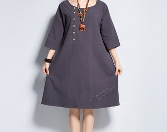 Anysize BoatCollar SidesPockets coconut buttons linen dress plus size dress plus size clothing spring summer autumn dress Y139