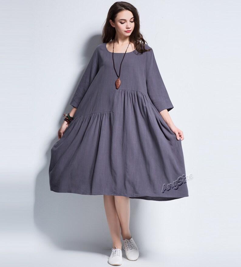 410966bfa1d Anysize Spring Summer soft linen&cotton A-line dress plus size | Etsy