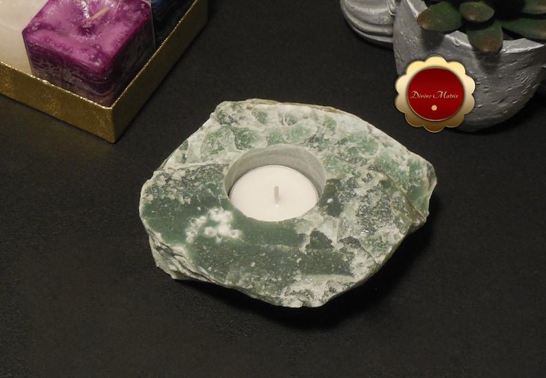 Green Aventurine Candle Holder Green Quartz Tea Light Candle image 0