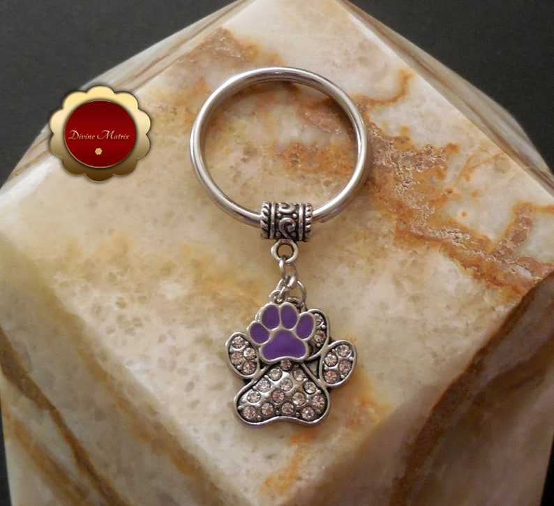 Silver and Purple Rhinestone Dog Paw Print Keychain Dog Paw image 0