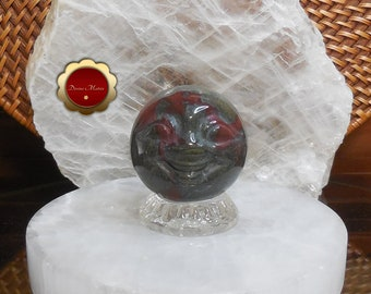 Dragon Blood Moonface Sphere, Carved Moon Face Sphere, Carved Dragon Blood Sphere
