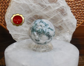 Moss Agate Sun and Moon Sphere, Crescent Moon, Carved Moon Face Sphere, Carved Moss Agate Sphere
