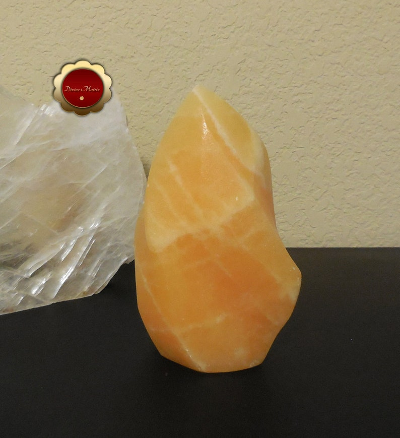 Orange Calcite Flame Carved Calcite Flame Sculpture 6 1/2 image 0