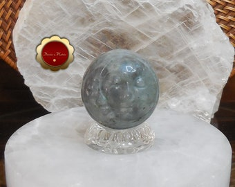 Labradorite Sun and Moon Sphere, Crescent Moon, Carved Moon Face Sphere, Carved Labradorite Sphere