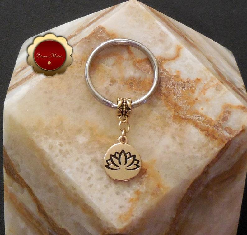 Antique Gold Lotus Keychain Lotus Pendant Lotus Charm image 0