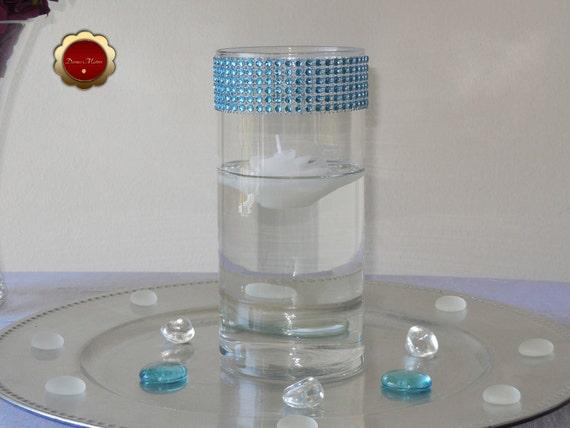 10 Turquoise Rhinestone Cylinder Vases Bling Candle Holders Etsy