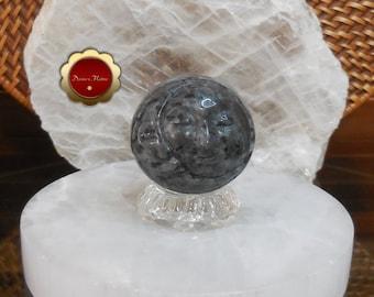 Larvikite Sun and Moon Sphere, Crescent Moon, Carved Moon Face Sphere, Carved Larvikite Sphere