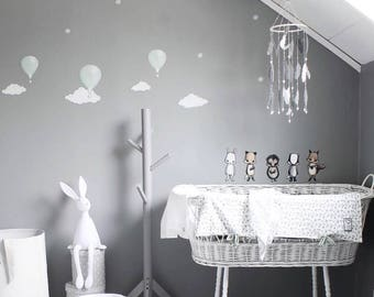 Gray Mobile - Gray Nursery Mobile - Gray Baby Mobile - Feather Mobile - Dream Catcher Mobile - Modern Nursery - Feather Baby Shower Gift