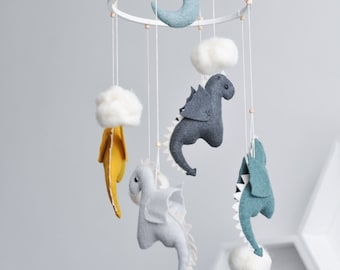 Baby Mobile - Crib Mobile - Felt Mobile - Dragon Baby Nursery Decor - Dragon Mobile - Fantasy Nursery - Baby Shower Gift - Baby Boy Mobile