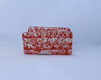Fused glass business card and mail holder. Clear glass with red speckles. Hold keys, cards, mail, bills, kitchen sponge, cell phone.