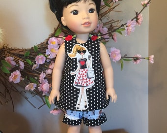 """Summer fun top and bloomers for the 14"""" or wellie doll"""