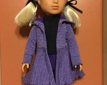 """14.5"""" doll clothes purple hoodie coat and leggings"""