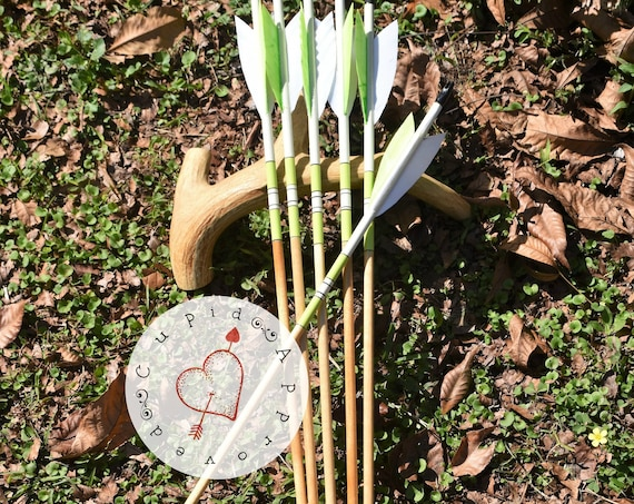 Archery arrows, wood arrows, Bright lime green arrows