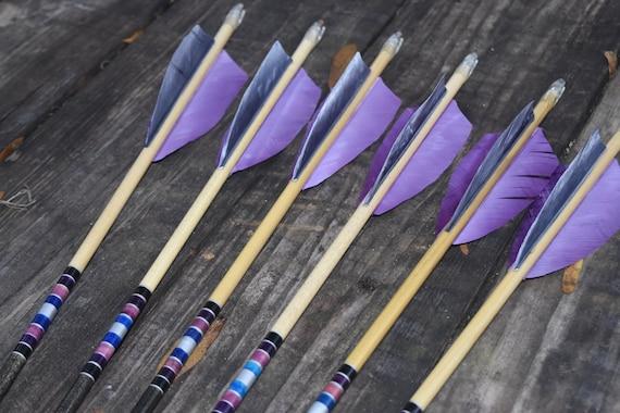Archery arrows, wood arrows, Black and purple arrows