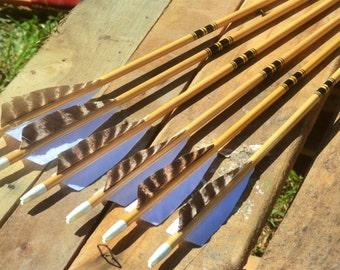 Archery arrows, Traditional Port Orford cedar, arrows, black cresting