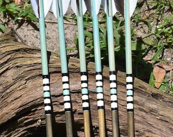 Archery arrows, wood arrows, Teal and Gray arrows