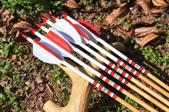 Archery arrows, wood arrows, Red and white arrows