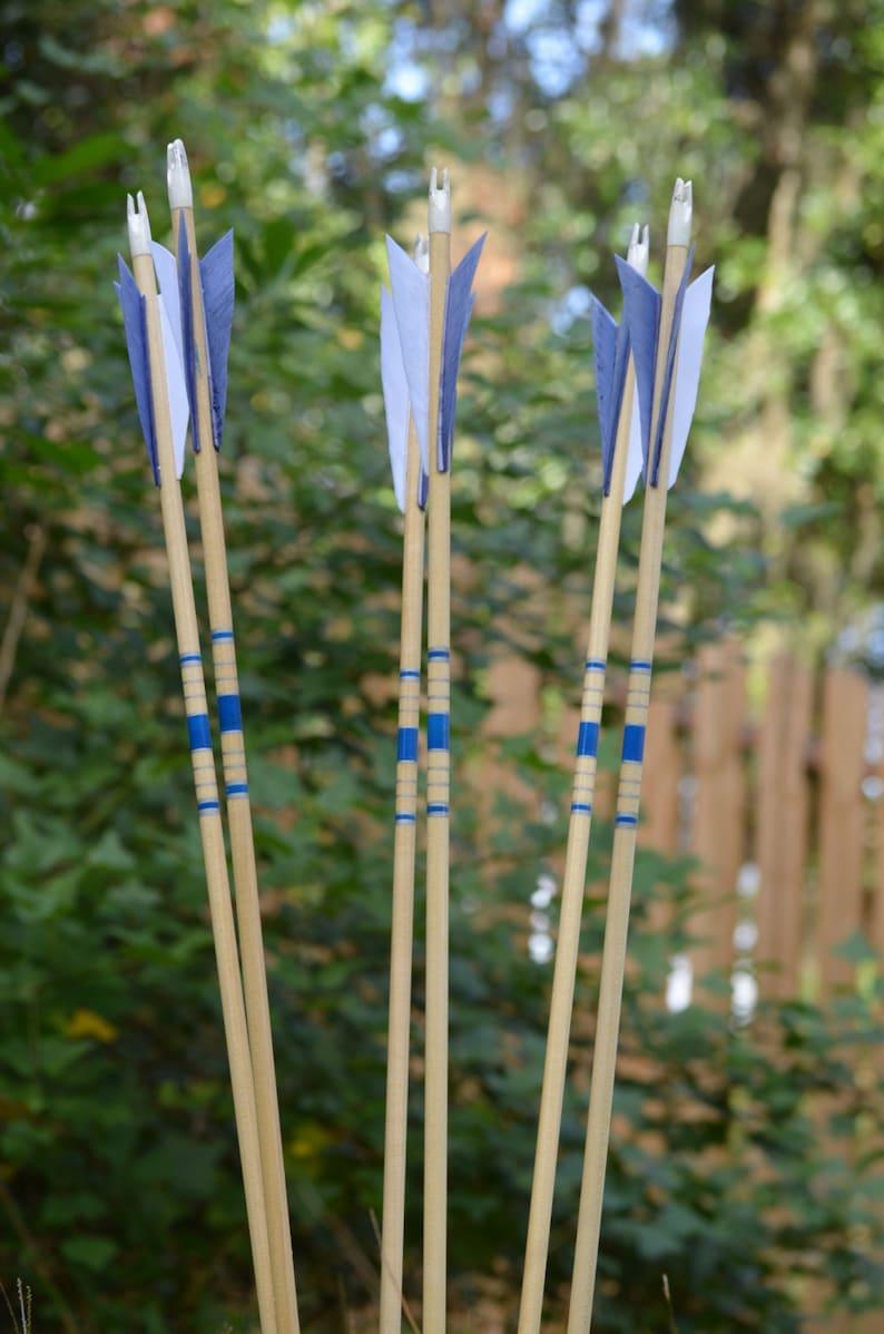 Archery Arrows Junior archers Poplar shafts set of 6 blue image 0