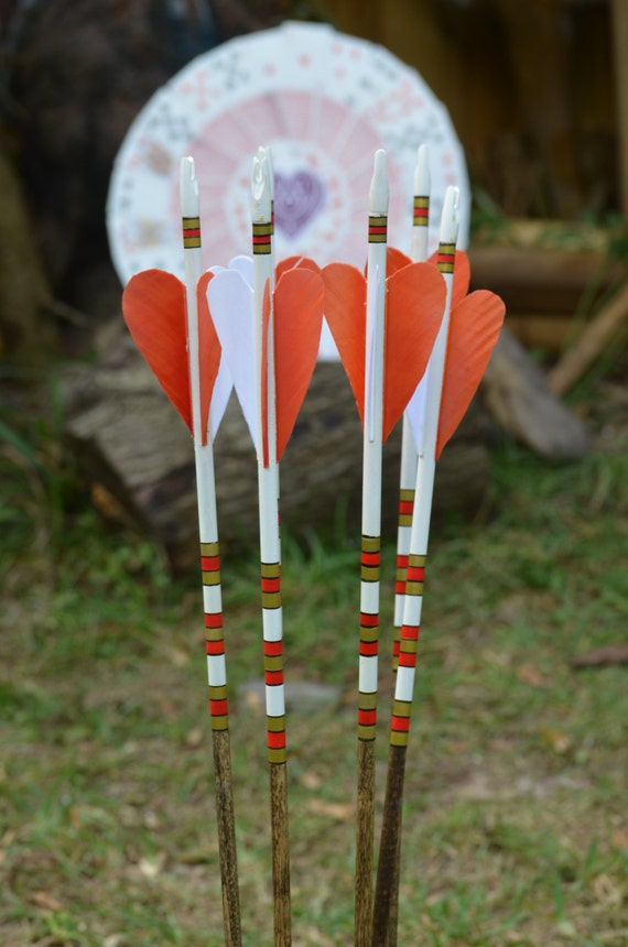 "Archery Arrows, Wood arrows, set of 6 unique ""Ace of Hearts"" arrows"