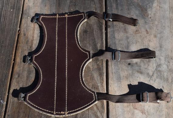 Archery arm guard, Vintage large brown leather arm guard
