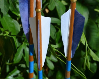 Archery arrows, Traditional wood arrows, self nocked with blue cresting