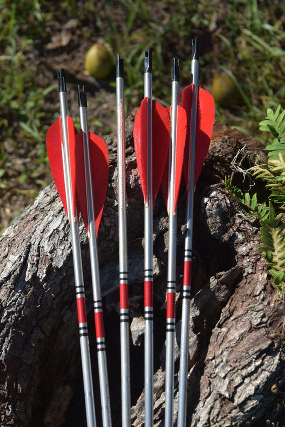 Archery arrows, vintage aluminum arrows set of 6 arrows