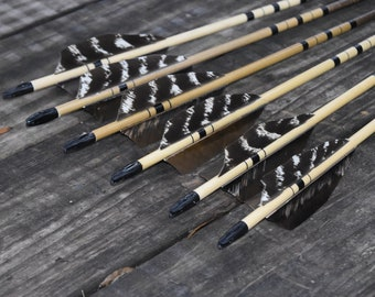 Archery arrows, wood arrows, Black and brown, natural turkey feather