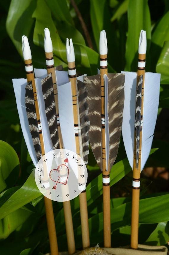 Archery arrows, 4 fletched poplar arrows set of 6