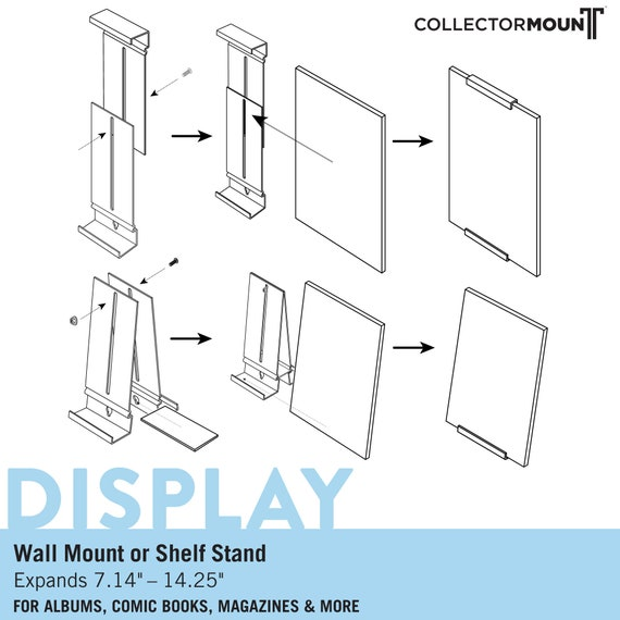 ComicMount\u2122 Comic Book Frame Display System \u2013 Invisible and Adjustable Wall Mount or Shelf Stand.