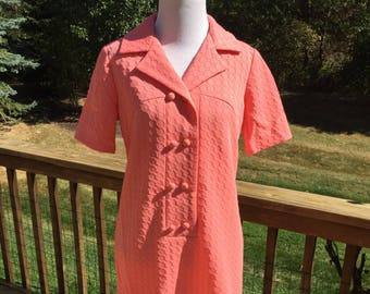 Vintage Mod Arthur Originals Coral Colored Shift Dress