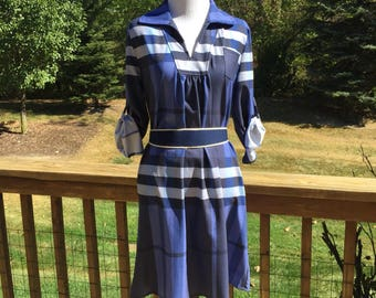Vintage 1970's Striped Pattern Shift Dress/Tunic