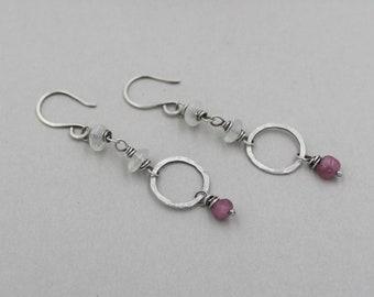 Funky Sterling Silver Earrings with African Yellow Opals Earrings Artisan Opal Dangle Earrings Rustic Melted Silver Hoops