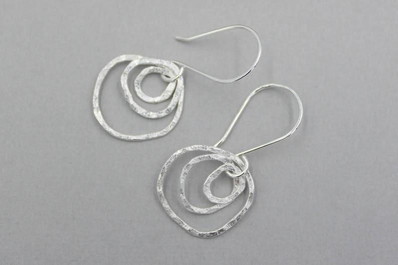 Fine Silver Organic Hoop Earrings Small Silver Multi Hoop Earrings Fun Fused Silver Rustic Hammered Silver Hoop Earrings Funky Earrings