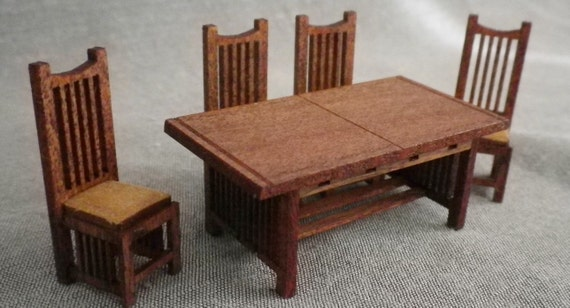 Stickley Style Dining Room Table and 4 Chairs Kit - Quarter Scale Kit
