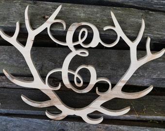 Deer Antler Monogram Last Name Metal Sign