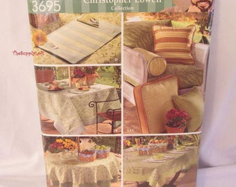 Sale Brand New Simplicity 3695 Pattern Christopher Lowell collection Outdoor Table Accessories Tablecloth Place Mats Pillows Bolster