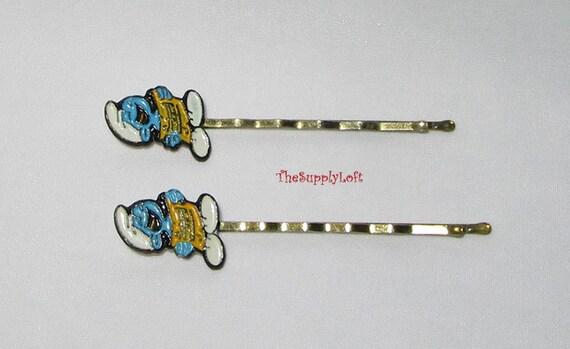 Vintage Pair of Enamel Smurf Hair Pins Bobby Pins
