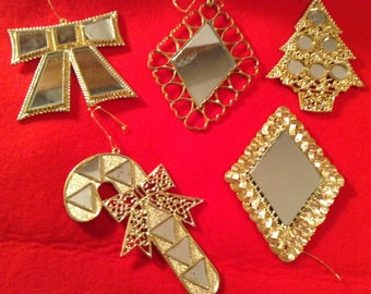 Vintage 1980s mirrored Xmas tree ornaments holiday accents set of five