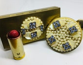 Vintage brass rhinestone mother of pearl faux pearls mirrored makeup cosmetics lipstick case matching cigarette case set