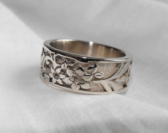 925 silver ring, or in 18 Kt gold, floral pattern ring, 8 mm wide