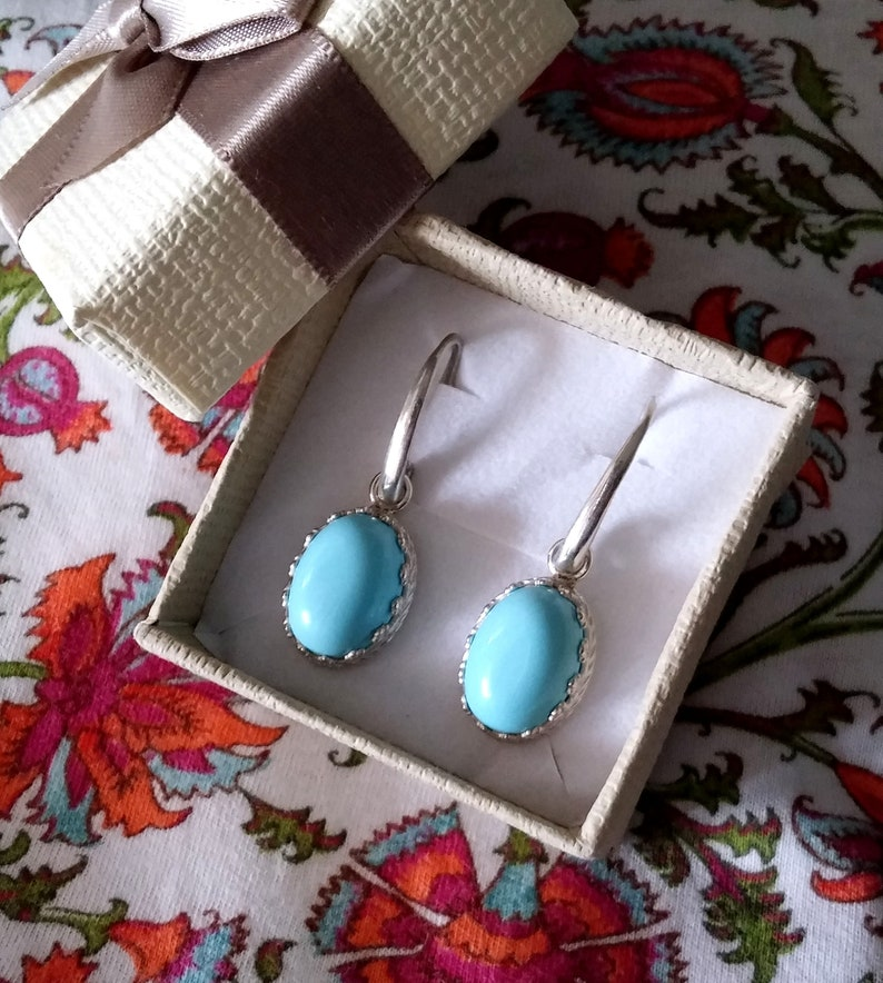 with turquoise paste 10 x 14 mm pendants Earrings in 925 silver