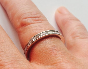 0.50 TCW .925 Sterling Silver CZ Baguette Stackable Eternity Bridal Ring Band Sizes 4-10