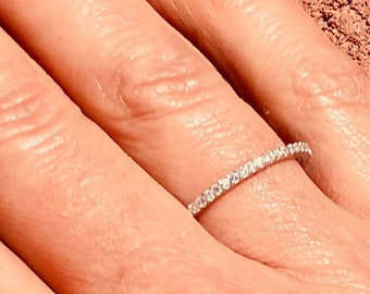Dainty Thin 1.5 mm CZ Cubic Zirconia Minimalist Band .925 Sterling Silver Stackable Eternity Bridal Wedding Anniversary Ring